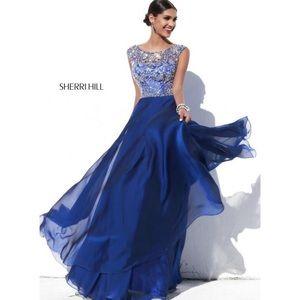 Sherri Hill Dresses - Sherri Hill Cap Sleeve Navy Prom Dress 32017 💙